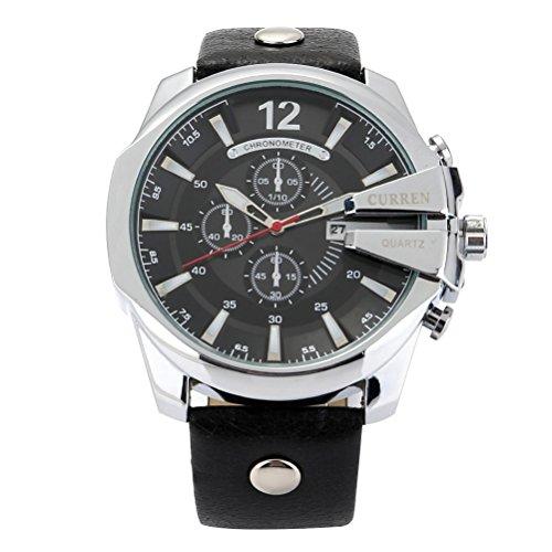 KDMB Reloj de Moda para Hombre, Deportes Casuales, Calendario Impermeable, Tres Ojos, Esfera Redonda, Reloj de Pulsera de Cuarzo de Cuero (Negro + Negro)