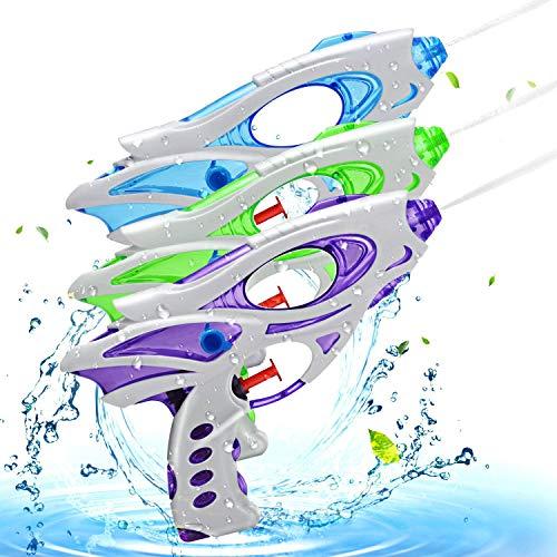 Ucradle Wasserpistole, 3pcs Kinder Wasserpistolen Kleine Spritzpistole Wasser Water Gun Cool Pool Spielzeug Kinder, Party Mitgebsel Strand Badespielzeug Strandspielzeug (blau/grün/lila)