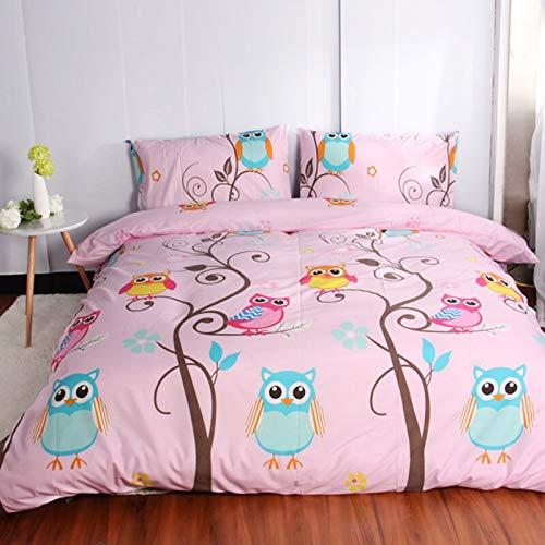 LEV Bedding Sets - owl cartoon kids bedding sets size 2/3pcs duvet cover set for usa europe 4-7pcs bed linens sheet set for russia bedclothes pink 1 PCs