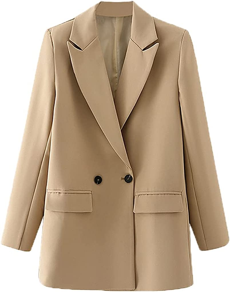 Women Double Breasted Blazer Vintage Coat Fashion Notched Collar