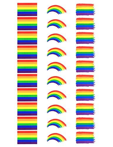 Tatuajes temporales de la bandera de arcoíris de Fiomia, pegatinas para festivales del orgullo, impermeables, pintura corporal extraíble, 4,5 x 2,5, 30 piezas