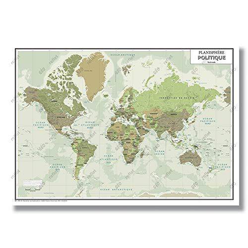 Carte Murale - Mappemonde - Modèle Green - Poster Plastifié Grand Format A0