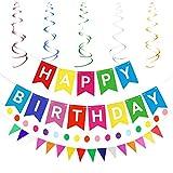 """Gativs Decorazione di Compleanno Festoni Compleanno Kit Happy Birthday Banner Striscione """"Happy Birthday"""" Bandierine di Buon Compleanno per Festa di Compleanno"""