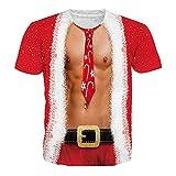 Unisex Camiseta Manga Corta Navidad Estampada 3D Moda Diario Slim Fit Casual T-Shirt Blusas Camisas Camiseta de Cuello Redondo Suave básica Camiseta riou