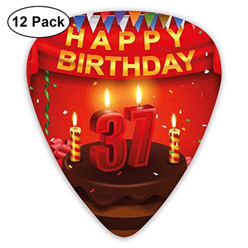 Gitaar Picks12pcs Plectrum (0.46mm-0.96mm), Chocolade Cake Gifts Ballonnen Vlag Leuke Pictogrammen Kaarsen Kunstzuchtige Afbeelding, Voor Uw Gitaar of Ukulele