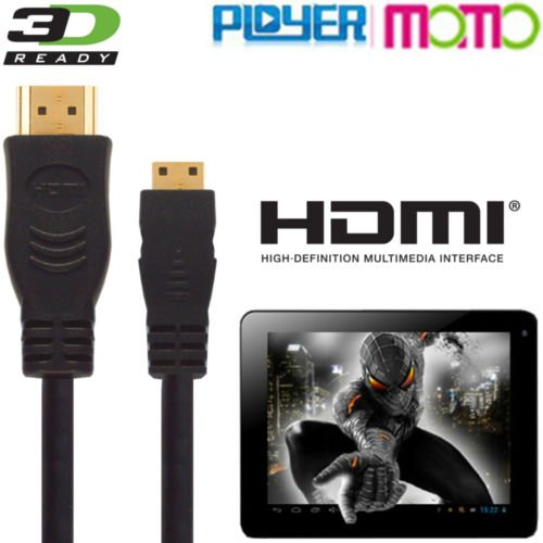 Ployer Momo 7, 8, 9, 11, 12, 15, 19, 20 Tablet HDMI Mini TV 3 m draad kabel Deze hoge snelheid HDMI-kabel verbindt de Ployer Momo tablet PC met elke TV met een HDMI-poort. Speel films, games en apps op je televisie