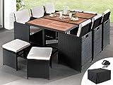 Bestmobilier - Maya - Salon de Jardin encastrable 10 Places - en résine tressée - Noir avec Coussins Beiges + Housse de Protection