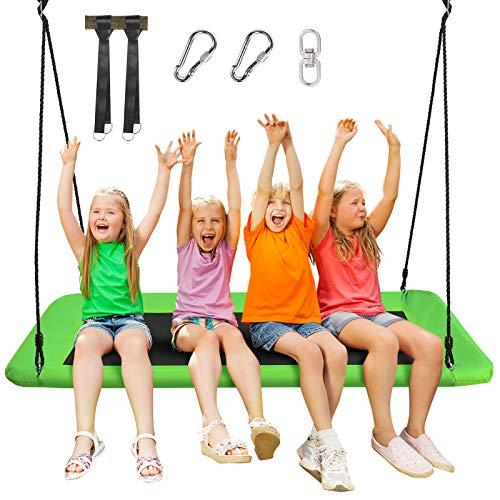 COSTWAY Baumschaukel Nestschaukel 100-180cm verstellbaren Seil, Hängeschaukel 320kg Tragkraft, Mehrkindschaukel Gartenschaukel für Kinder & Erwachsene 150x80cm (Grün)