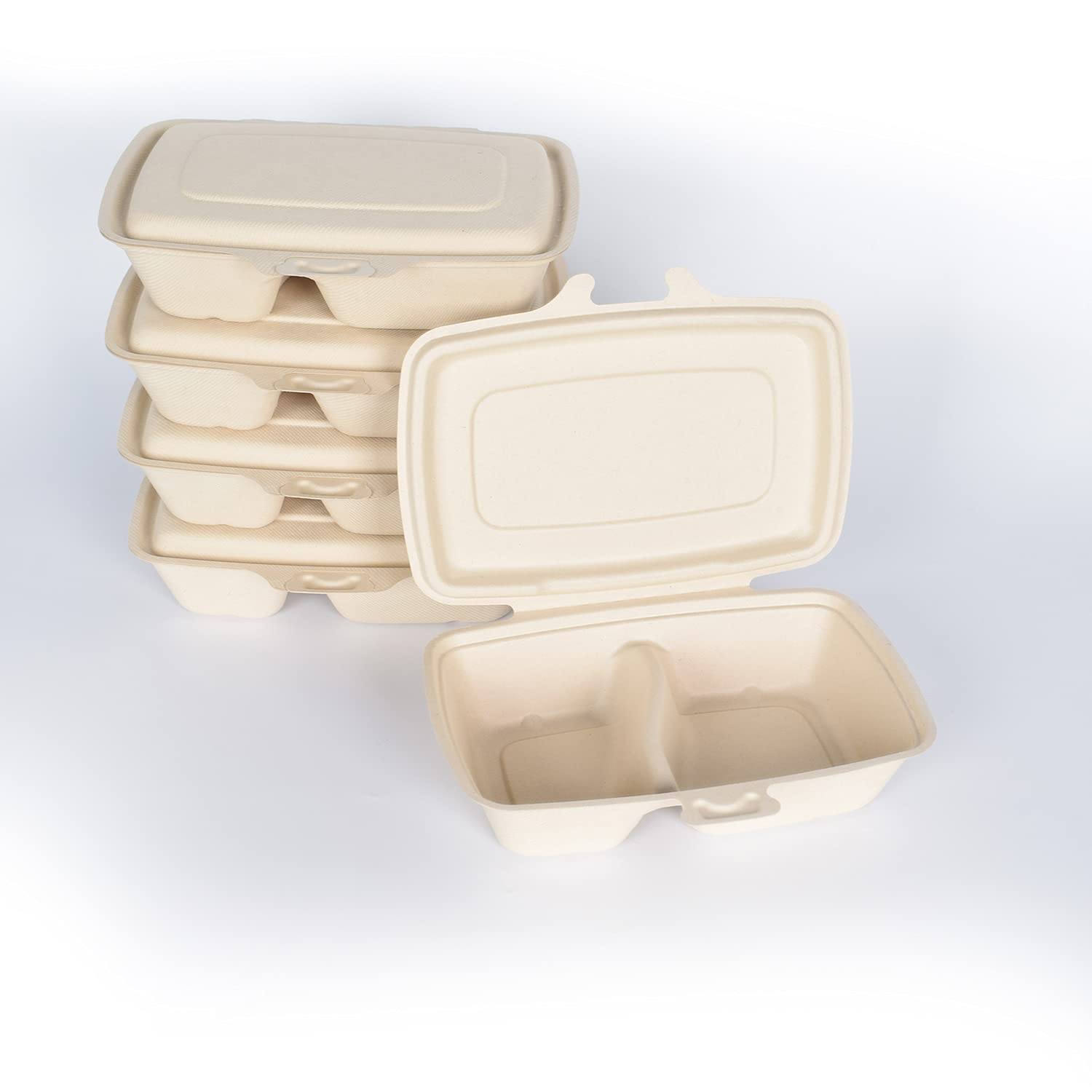 Compostable Clamshell to Go Boxes for Food [9X6