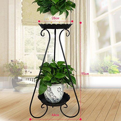 balcon voyantes Grilles de fleur de fer à plusieurs étages grilles vert radis araignée balcon étagère à fleurs viande salon intérieur étage étagère à fleurs Plantes d'extérieur Présentoir ( Couleur : Noir , taille : 44*95cm )
