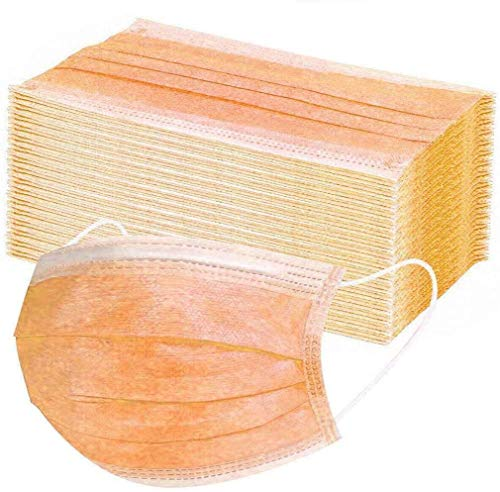 Unbr 50 Pezzi di Protezione USA E Getta, con Orecchini, Antipolvere, 3 Strati di Protezione (Arancia)