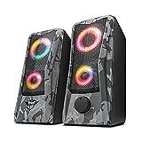 Trust GXT 606 Javv Gaming USB Lautsprecher (RGB-Beleuchtung, 12W, für PC und Laptop, 2.0 Boxen) - grau