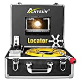 Sewer Camera 100ft with Locator, 512Hz Sonde Transmitter Plumbing Camera Snake with DVR Recorder, Inspection Cam with 7' LCD Monitor with Fiber Optic Cable Wire (8 GB SD Card Included) (100ft/30m)