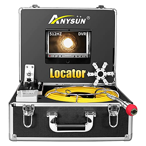 """Sewer Camera 165ft with Locator, 512Hz Sonde Transmitter Plumbing Camera Snake with DVR Recorder, Inspection Cam with 7"""" LCD Monitor with Fiber Optic Cable Wire (8 GB SD Card Included) (165ft/50m)"""