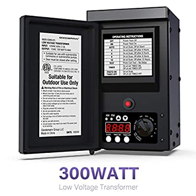 GOODSMANN Low Voltage Transformer 300 Watt with Timer, Photo Eye Sensor and Weather Shield for Outdoor Lighting Metal Transformer 120V AC to 12V AC 9920-0300-01