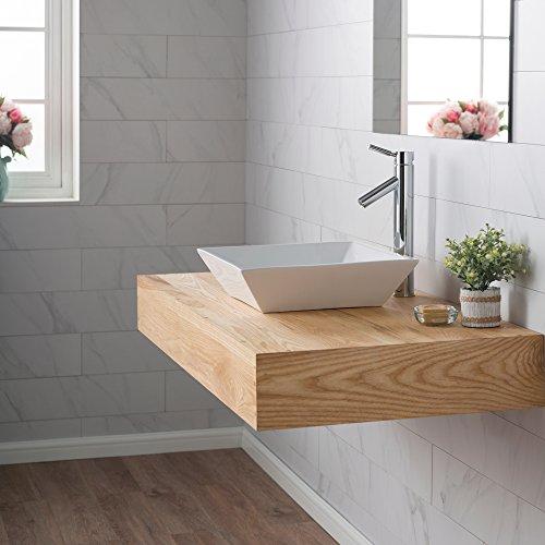 Kraus KCV-125 Ceramic Above counter Square Bathroom Sink, 16.8 x 16.8 x 4.72 inches, White