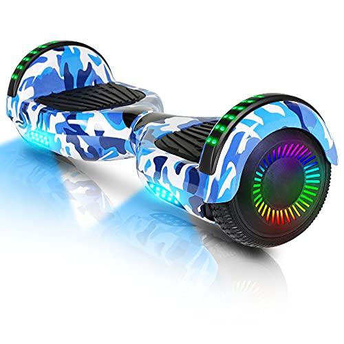 Hoverboard-Hoverboard para niños, aerotabla autoequilibrante de Dos Ruedas de 6.5 Pulgadas, con Bluetooth y Luces Intermitentes LED, Adecuado para niños de 6 a 12 años (Color Azul)