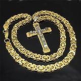 L-YINGZON Collares Jesús Cruzado Collar Collar de Acero Inoxidable para Hombres Joyas de Mujer bizantina 8,5 mm Cadena poplular Cristiano Colar Astilla/Color Dorado Joyas