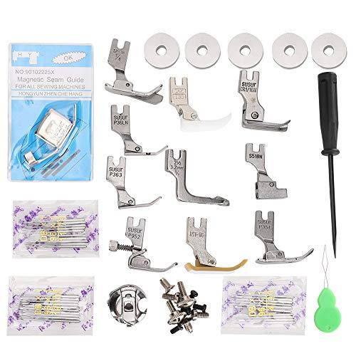 Nähfuß Kit, Haushaltsstift Spulen kapsel Set Zubehör, einschließlich elektromagnetischer Messschraube für Schlitzschraubendreher für Flachnähmaschine