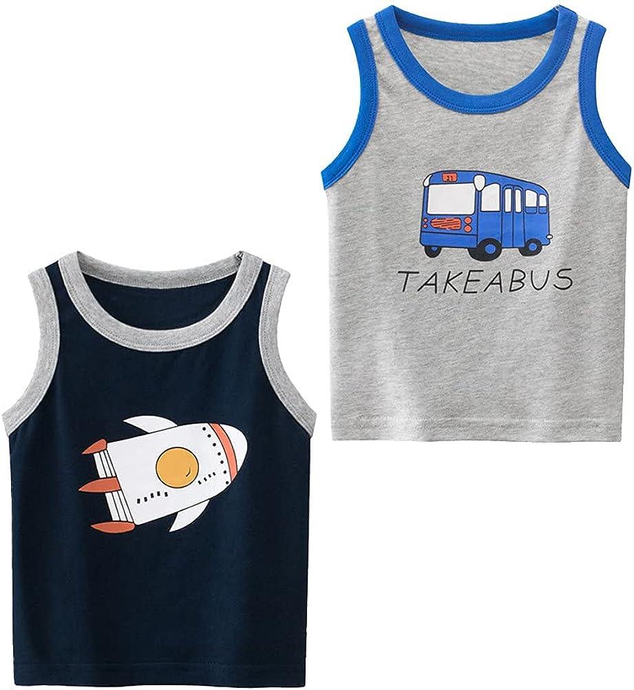 LittleSpring Summer Little Boys Tank Tops 2-Pack Sleeveless Undershirts