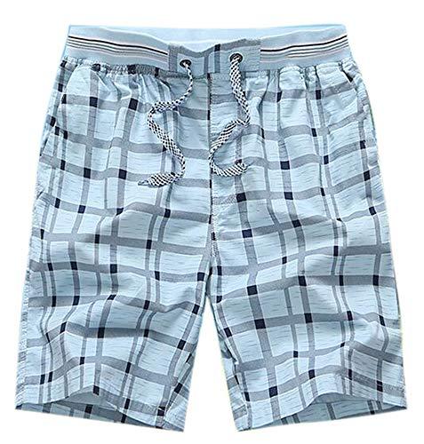 Heren katoenen zomershorts, casual geruite strandshorts met halflange broek