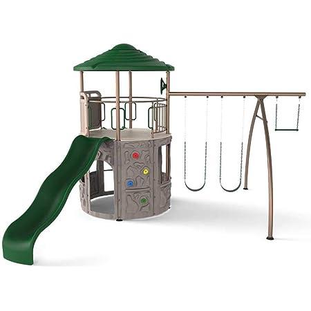 Amazon Com Lifetime Adventure Tower Swing Set Earthtone 290633 Toys Games