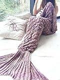 查尔斯·理查兹CR成人美人鱼尾巴毛毯钩针和美人鱼毛毯为成人,超柔软的四季睡觉毛毯