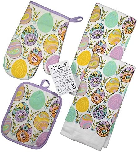 Easter Kitchen Dish Towels Set Includes 2 Towels 1 Pot Holder 1 Oven Mitt and and Custom Magnet product image