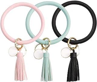 FANJURNEY Wristlet Keychain Bracelet Keyring, 3PCS Oversized Bracelet Bangle Keychain Tassel Ring Circle Key Ring for Wome...