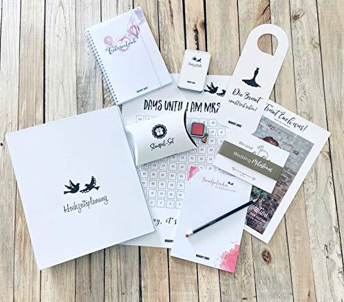 brautkiste Hochzeitsplanung 11-teilig von MARRY JANE | Organisationshilfe | Verlobungsgeschenk | Hochzeitsplaner | Checklisten | Hochzeitsordner | brautbox für Hochzeitsvorbereitungen
