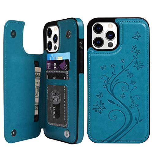 Compatible with iPhone 12 Pro Max 5G Wallet Case, Case with Card Holder Embossed Butterfly Premium PU Leather Double Magnetic Buttons Flip Shockproof Protective Cover 6.7 inch (Blue)