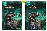 Theonoi 2 raccoglitori per bambini, con elastico, formato DIN A4, motivo dinosauro, dinosauro, idea regalo per l'inizio della scuola