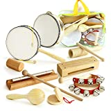 mixi Musical Instruments Toys for Toddlers, Wooden Percussion Instruments for Toddlers 1-3 with Storage Bag,...