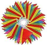 Vicloon Wimpelkette, 38M Wimpel Flagge Polyester Wimpel Girlande Bunting Banner, 100 Stück 5 Farben Dreieck Fahnen für Geburtstag, Hochzeit, oder Outdoor Garten-Dekoration, Bunt