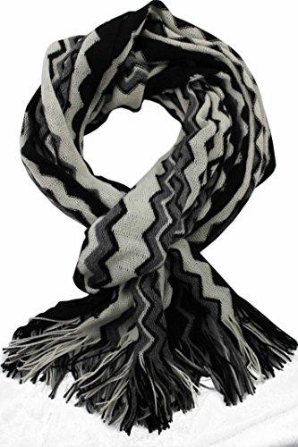 Rotfuchs Foulard unisexe Foulard d'hiver Foulard câlin Foulard tricoté en laine zigzag chaude Fabriqué en Allemagne 180 x 50 cm (noir blanc, 190 x 55