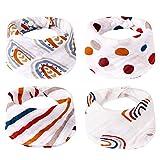 Migaven Baberos Bebe Impermeables, 4Pcs Soft Cotton Baby Bibs Triangle Towel Feeding Drool Drool Drooling Bibs con Botón Snap Accesorios de Alimentación de Bebé Estilo A