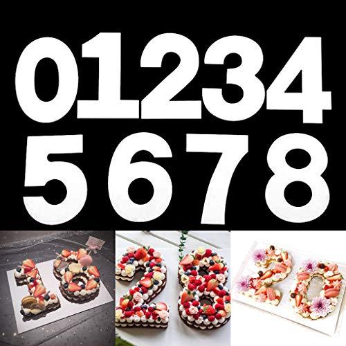 Rolin Roly 9 Stück 12 Inch Kuchenform 0-8 Zahlen Set, Cake Mold Number, Backform Zahlen for DIY Obst Kuchen Cakes Dekoration