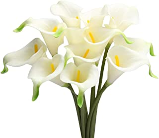 Artificial Flowers, Fake Flowers Artificial Calla Lily Bridal Wedding Bouquet for Home Garden Party Wedding Decoration 12Pcs (White&Yellow Pistil)
