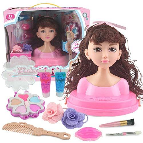 Dreameryoly Frisierkopf Schminkkopf Spielzeug mit Komplettes Zubehör Mädchen Puppe Haare Prinzessin Puppen Schöne Geschenkbox Verpackung Geschenk für Mädchen Kinder Echthaar Ab 3 Jahren Upgrade