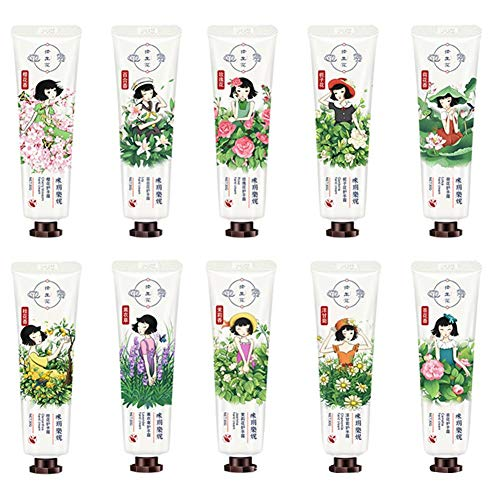Hand Cream Gift,10 pcs Natural Moisturizing Mini Hand Cream Travel,Moisturizing Hand Cream for Dry Hands with Natural Aloe and Vitamin E,Premium Gift for Women or Her