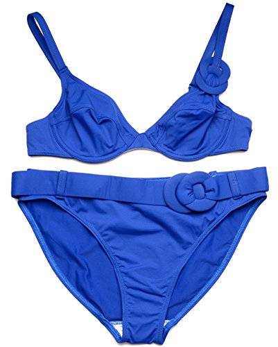 Huit Half Cup Underwire Bikini Set K41 (34B/M, Royal Blue)