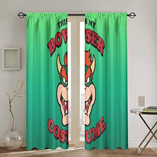 Bowser kostuum verduisteringspaneel gordijnen voor slaapkamer donker worden thermische geïsoleerde gordijnen 2 panelen 52