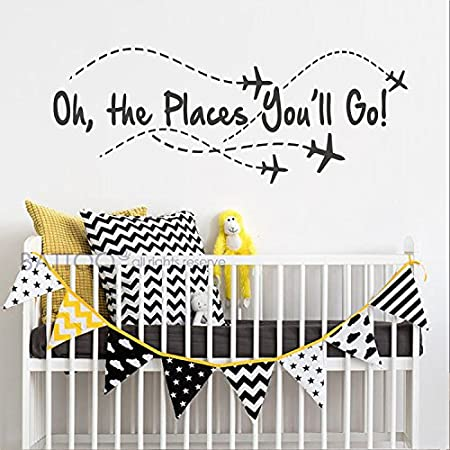 BATTOO Airplane Wall Decal Airplane Black, 22 WX8.5 H Boy Wall Sticker Girl Decor Oh The Places Youll go Pilot Wall Decal Nursery Wall Decal Quote