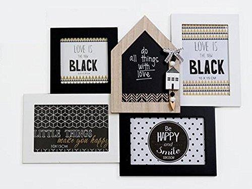 TxT photo Noir/Blanc-Maison maisons en bois naturel pour 4 Photos 42 x 31 x 2