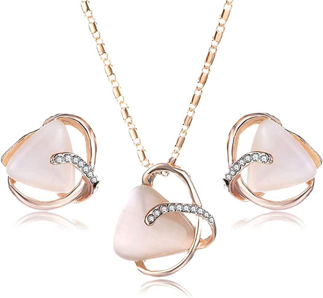 Acedre Opal Necklace Earrings Sets Gold Jewelry Set Adjustable Accessories for Women and Girls (Set of 3)