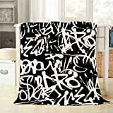 Mugod Black White Pattern Throw Blanket Graffiti Seamless Pattern with Abstract Tags Letters Decorative Soft Warm Cozy Flannel Plush Throws Blankets for Bedding Sofa Couch 60 X 80 Inch
