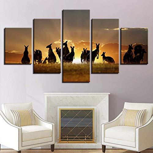 GHTAWXJ 5 Paneles Decoración Animal Canguro Estepa Puesta de Sol Paisaje Imágenes Arte de la Pared Modular HD Imprimir