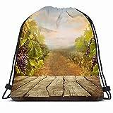 KAKALINQ Drawstring Backpack String Bag Green Table Vineyard Tabletop Wine Autumn...