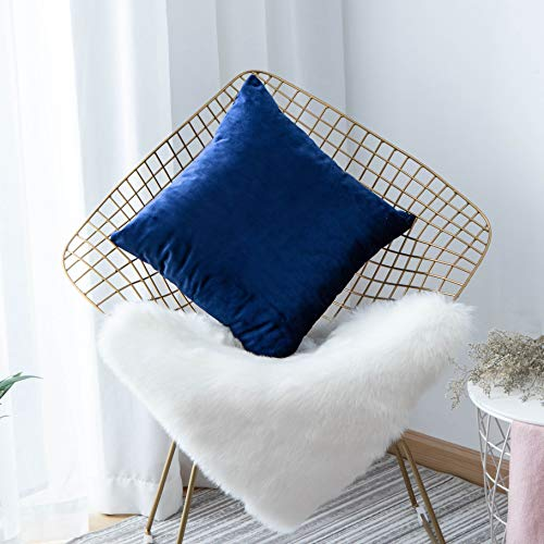 Home Brilliant Pillow Covers 18x18 inch for Couch Supersoft Velvet Square Solid Decor Pillow Case for Bench Garden Furniture, 45x45cm, Royal Blue
