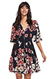 Milumia Women's Boho Button Up Split Floral Print Flowy Party Dress Blue and Red Large